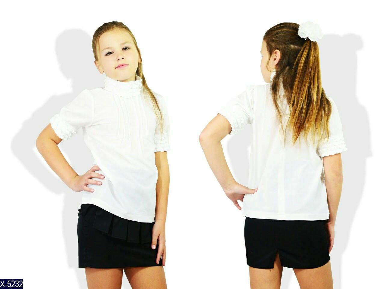 Блузка школьная Короткий рукав с ажурным воротником и манжетами ткань креп 122, 128, 134