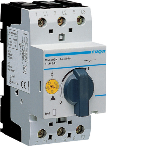 Автоматический выключатель защиты двигателя MM509N Hager, 4.0-6.0А
