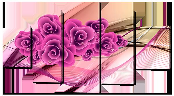 Модульная картина Розы в розовых тонах