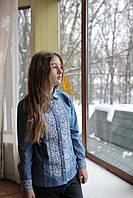 Блуза джинсовая с длинным рукавом для девочки с белой вышивкой р.164