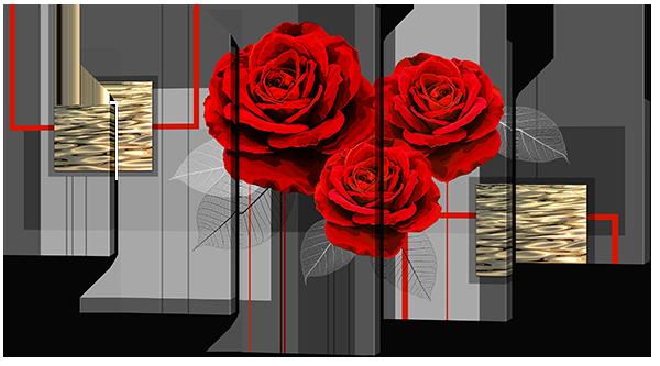 """Модульная картина """"Розы на сером и золотом"""""""