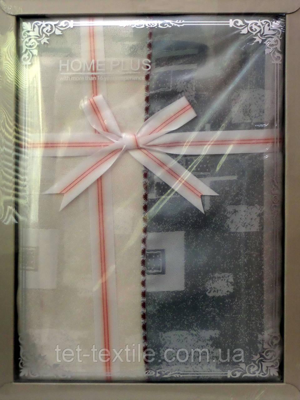 Скатерть ванильно-серая абстракция Home Plus (150x220cm.)