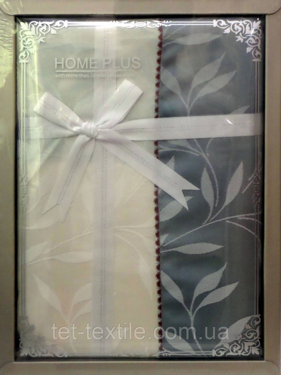 Скатерть ванильно-серые листочки Home Plus (150x220cm.)