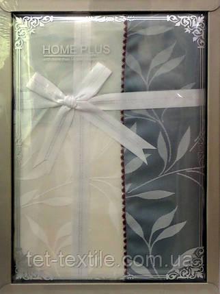 Скатерть ванильно-серые листочки Home Plus (150x220cm.), фото 2