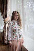 Блуза для девочки с воротничком льняная с вышивкой Розы