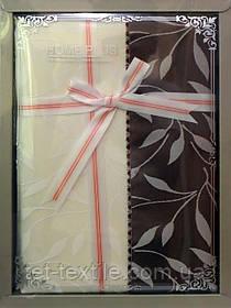 Скатерть ванильно-шоколадные листочки Home Plus (150x220cm.)