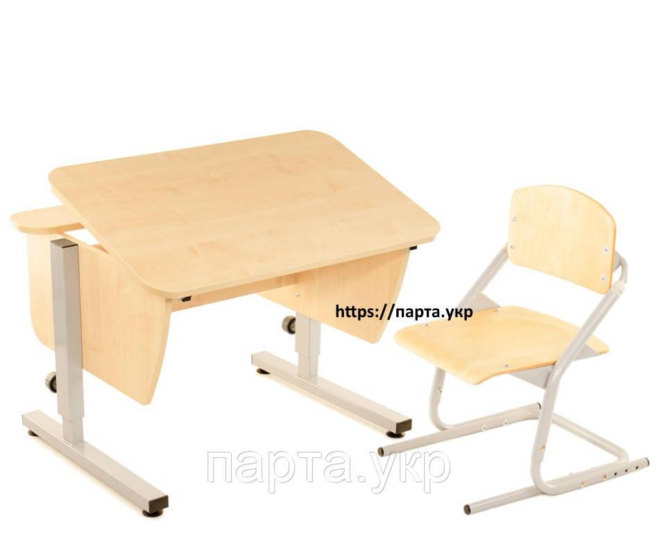 Парта трансформер 80см + стул для школьника, разные цвета