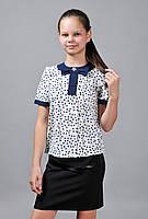Блузка школьная цветная с бантом (сердечки), фото 1