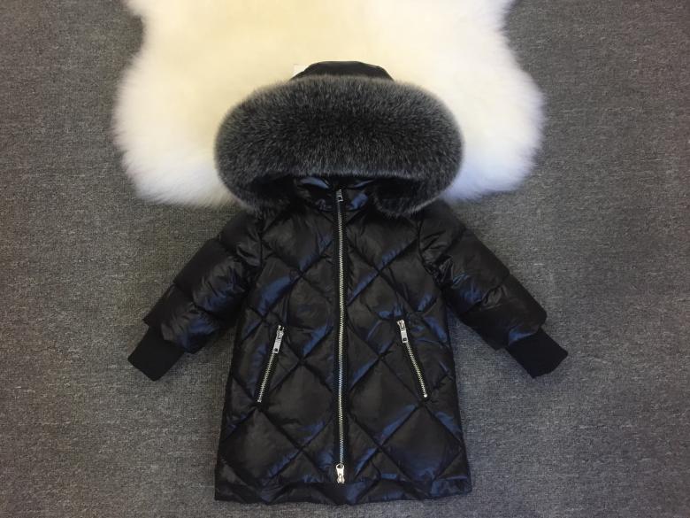 Детская курточка на пуху Lie Bei стеганая черная с меховым капюшоном