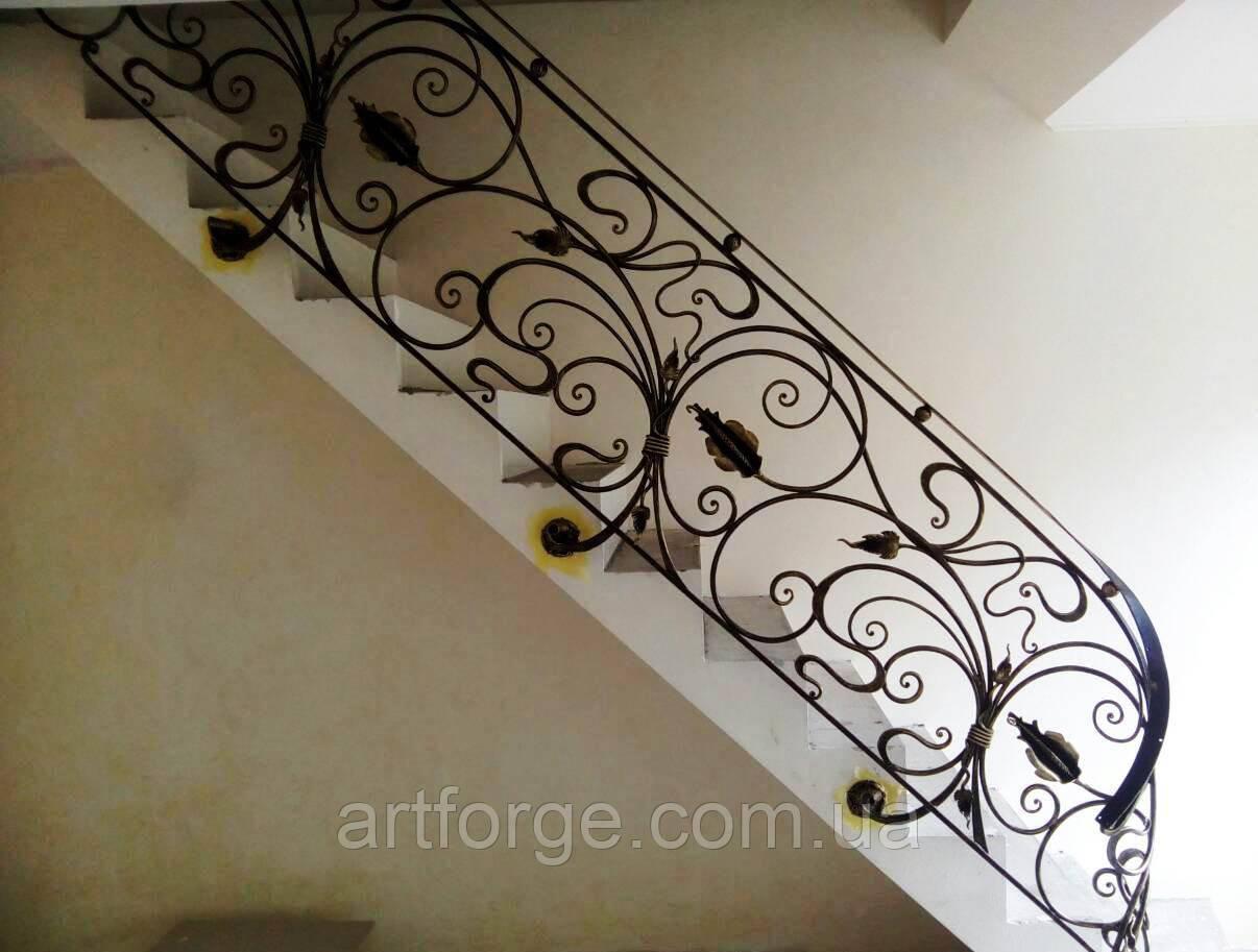 Кованые перила в стиле модерн. Ограждение лестницы Л-5001