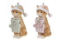 Декоративная статуэтка-подвеска Котик с подарком 6 шт.