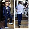 Костюм школьный Тройка для мальчика Лён пиджак брюки рубашка ткань итальянский лен 116-152 три цвета, фото 2
