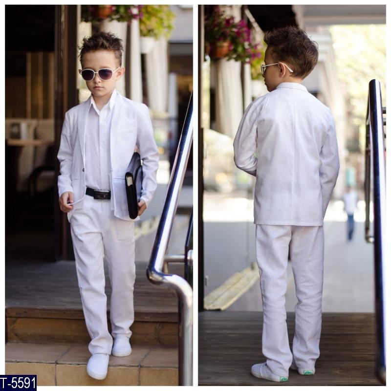 Костюм школьный Тройка для мальчика Лён пиджак брюки рубашка ткань итальянский лен 116-152 три цвета