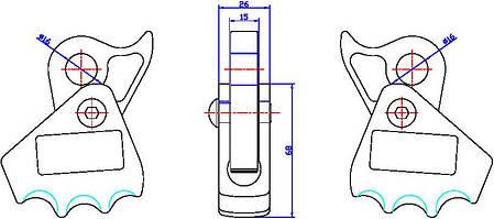 Зажим для троса стального Ø16мм Вертикаль ver0108 , фото 2