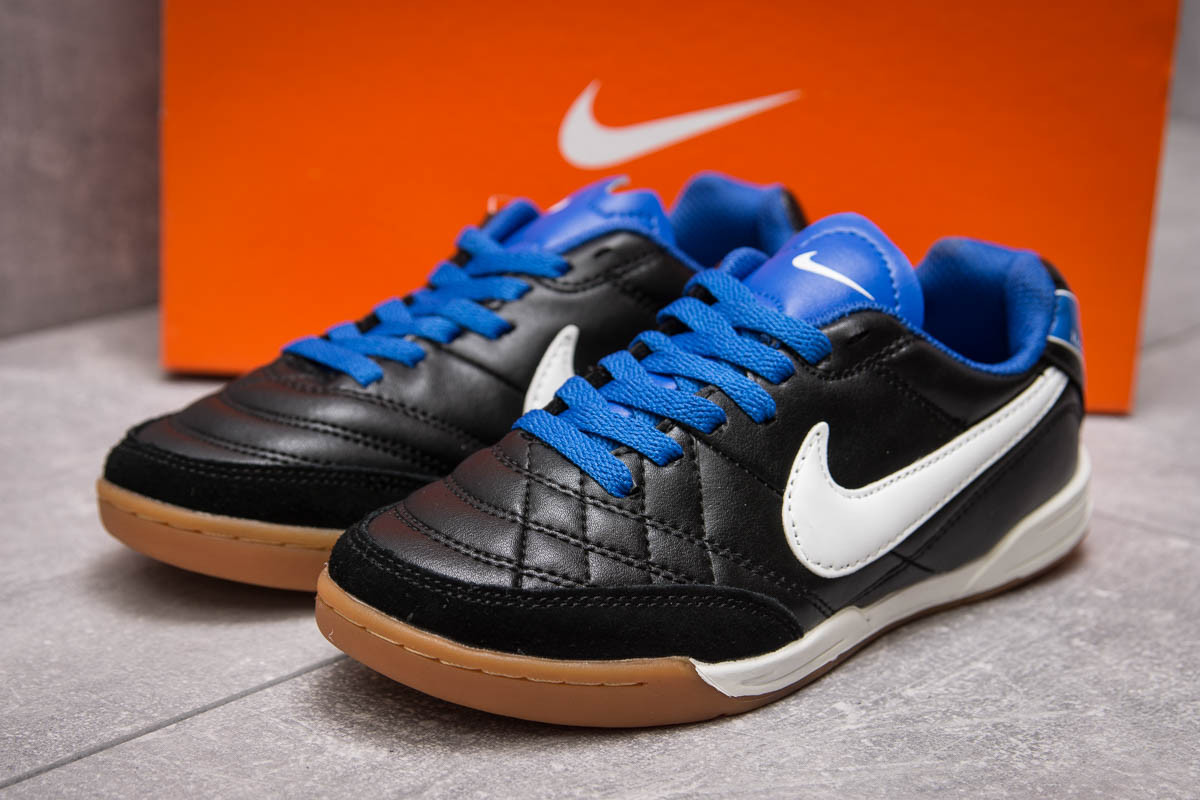 Кроссовки унисекс в стиле Nike Tiempo, черные (13951),  [  37 38 39 40