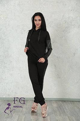 Спортивний костюм жіночий рукав екокожа з стрічками і капюшоном Mystery, фото 2