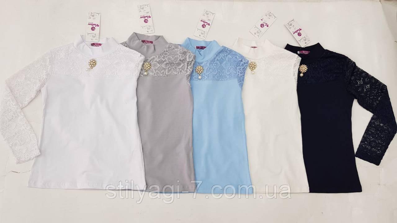 Кофта школьная для девочки 8-16 лет серого,белого,молочного,голубого,синего цвета с кружевом оптом