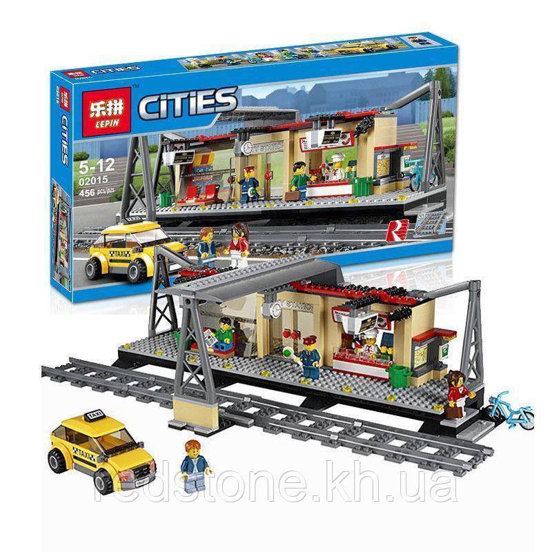 """Конструктор Lepin 02015 (Lego City 60050) """"Железнодорожная станция"""", 456 дет."""