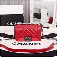 Сумка, клатч Шанель Бой, натуральная кожа, 20 см, в красном цвете, фото 1