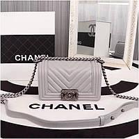 Сумка, клатч Шанель Бой, натуральная кожа, 20 см, в сером цвете, 060e85e3445