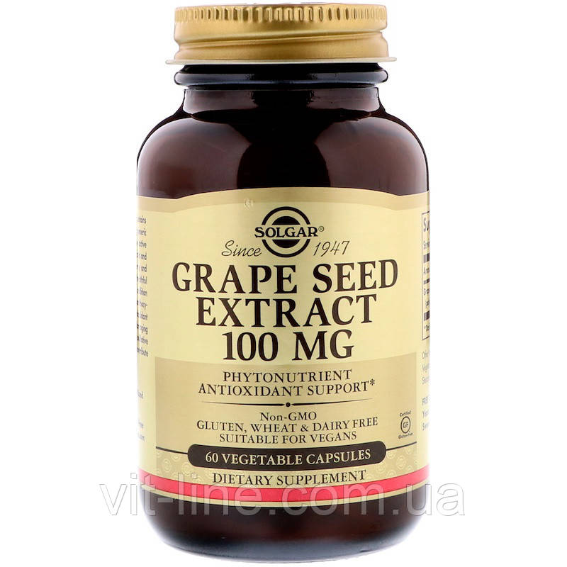 Solgar, Экстракт виноградной косточки, 100 мг, 60 вегетарианских капсул