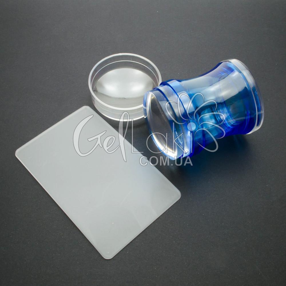 Прозрачный силиконовый штамп для стемпинга (синий)