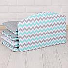 Бортики в кроватку с мятно-серыми зигзагами и звёздами, фото 4