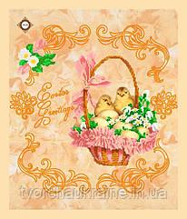 Схема для вышивания бисером Салфетка Поздравление с Пасхой