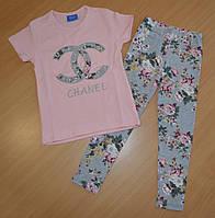 Костюм для девочки футболка и лосины 3-10 лет Турция