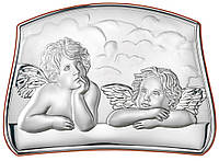 Серебряная икона детская Ангелы