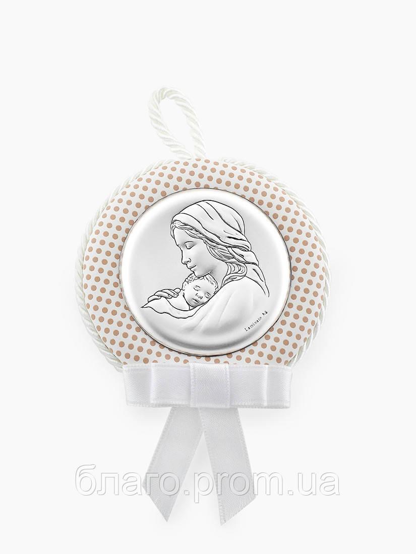 Серебряная икона детская Мария с младенцем