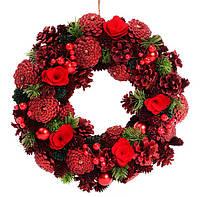 Венок новогодний с декором из ягод и красных цветов, 34 см, набор 2 шт