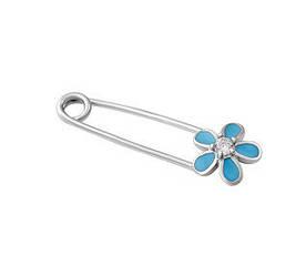 Булавка серебряная цветок