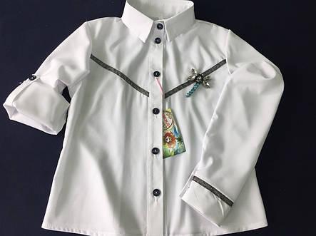 Красивая школьная блуза с рюшей и кружевом., фото 2