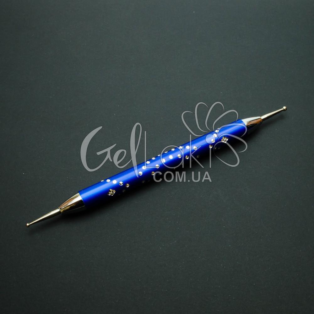 Дотс металлический со стразами для дизайна ногтей (синий)