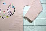 Теплый зимний свитер розовым цветом с зайчиками для девочки, фото 2