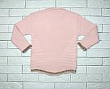 Теплый зимний свитер розовым цветом с зайчиками для девочки, фото 3