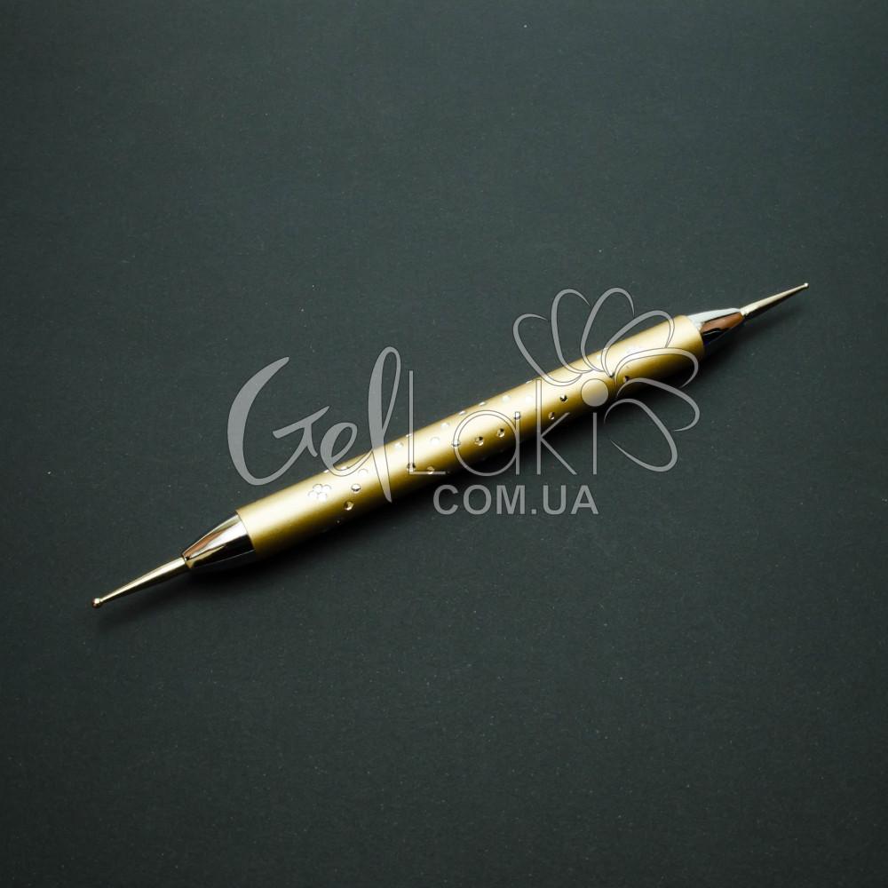 Дотс металлический со стразами для дизайна ногтей (золотой)