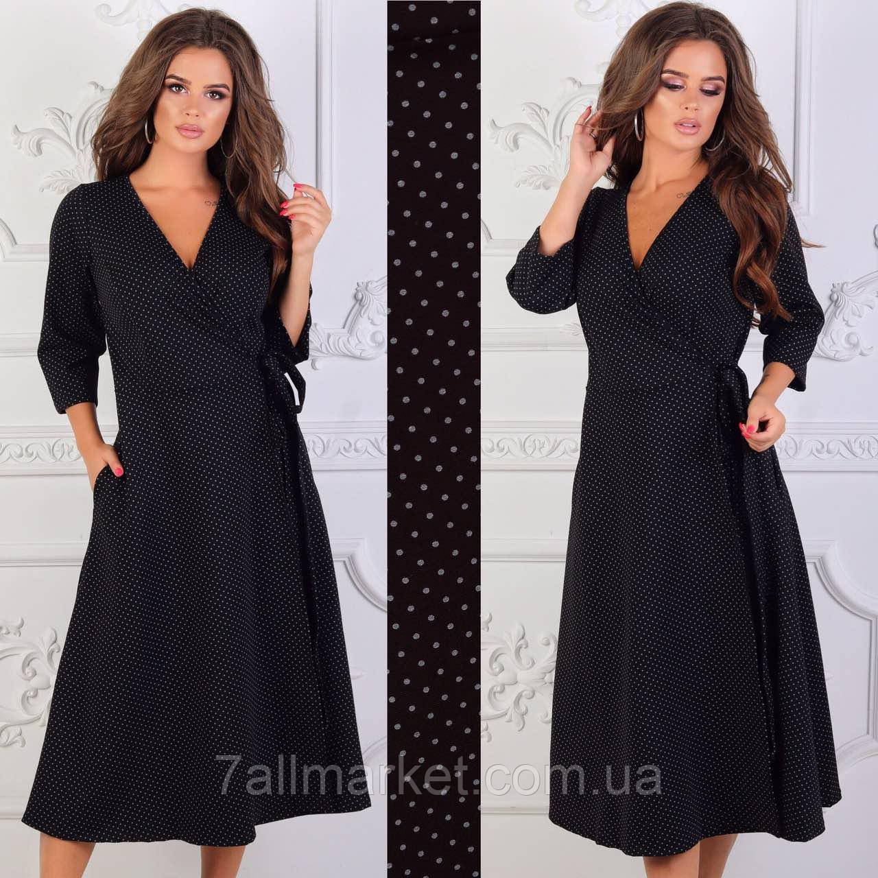 3f42a159457 Платье женское трикотажное на запах размеры 42-48 (2 цвета) Серия