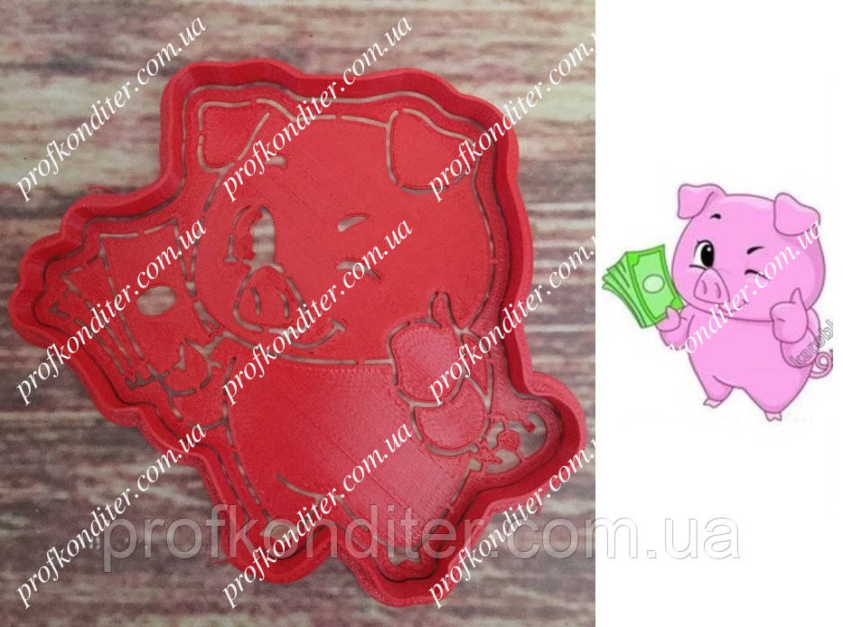 Набір Свинка з грошима - пластикова вирубка + трафарет