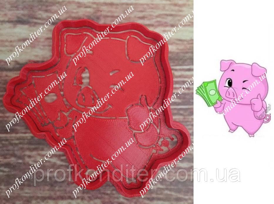 Набор Свинка с деньгами -  пластиковая вырубка  + трафарет