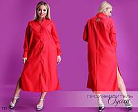 Платье-рубашка разрезы свободный фасон коттон 42-44,46-48, фото 1
