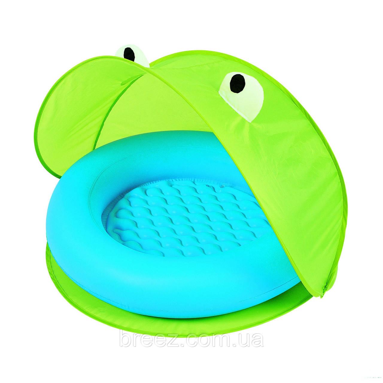 Детский надувной бассейн Bestway зеленый с навесом 97 х 97 х 74
