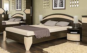 Ліжко з приліжковими тумбами Аляска (темний венге)