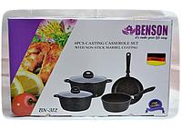 Набор Сковородка, Кастрюли с стеклянной крышкой BN-312, кухонная посуда