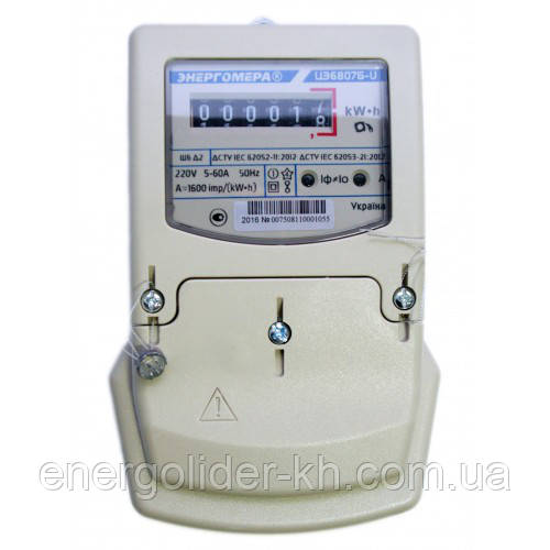 Электросчетчик ЦЭ 6807Б-UК 1,0 220В 5-60А однофазный однотарифный