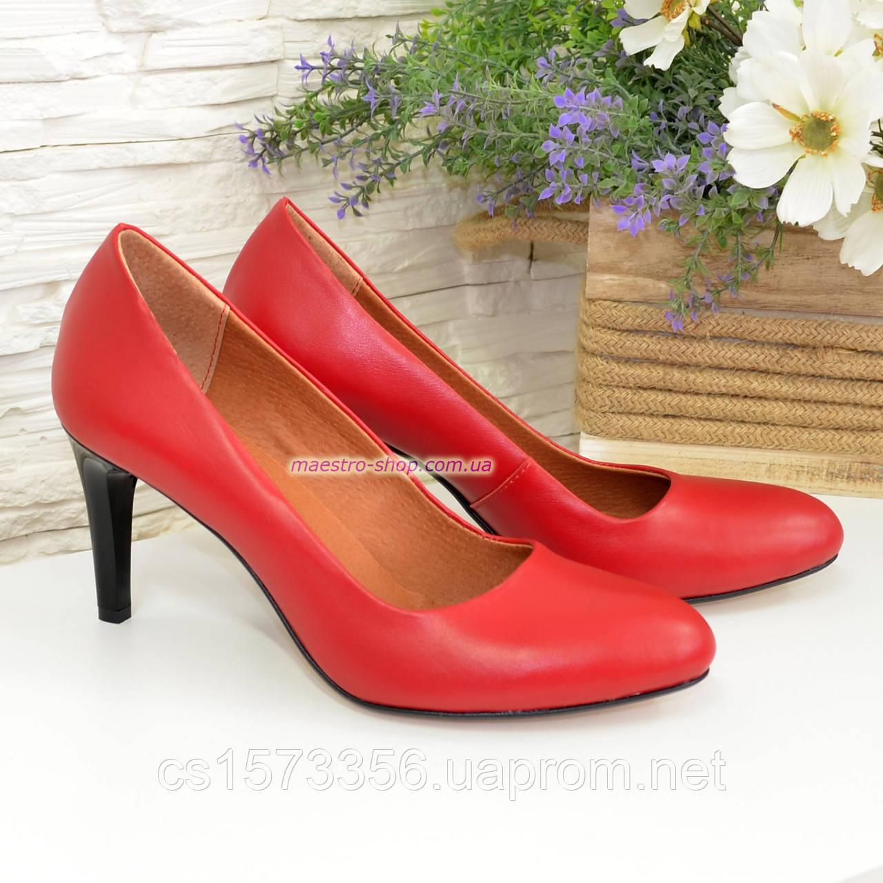 Женские классические кожаные красные туфли на шпильке