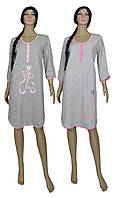 Ночная рубашка женская теплая 18058 Cats Soft Grey, хлопок, начес. р.р.44-58