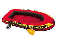 Трехместная надувная лодка Intex Explorer Pro 244х117х36 см (58358), с веслами и насосом, для рыбалки и отдыха