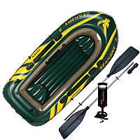 Трехместная надувная лодка Intex SEAHAWK 3 295х137х43см (68380), с веслами и насосом, для рыбалки и отдыха